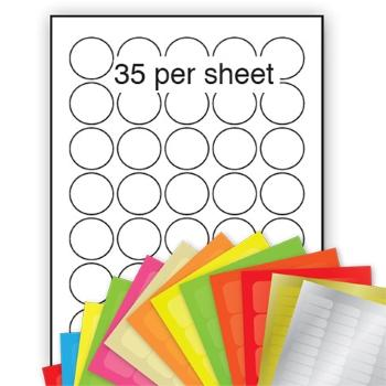 A4 Coloured Labels 37mm dia circle 35 per sheet