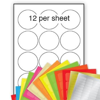 A4 Coloured Labels 63.5mm dia 12 per sheet