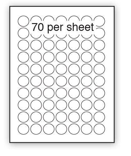 GC25 - A4 Label Gloss Clear Polyester 25mm Diameter Circle 70 up (100 Sheets)