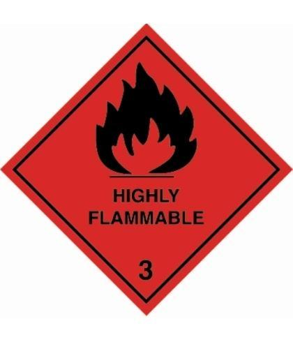 "HZ310 - Hazard Label ""HIGHLY FLAMMABLE"" 100x100mm (250 Labels per Roll)"