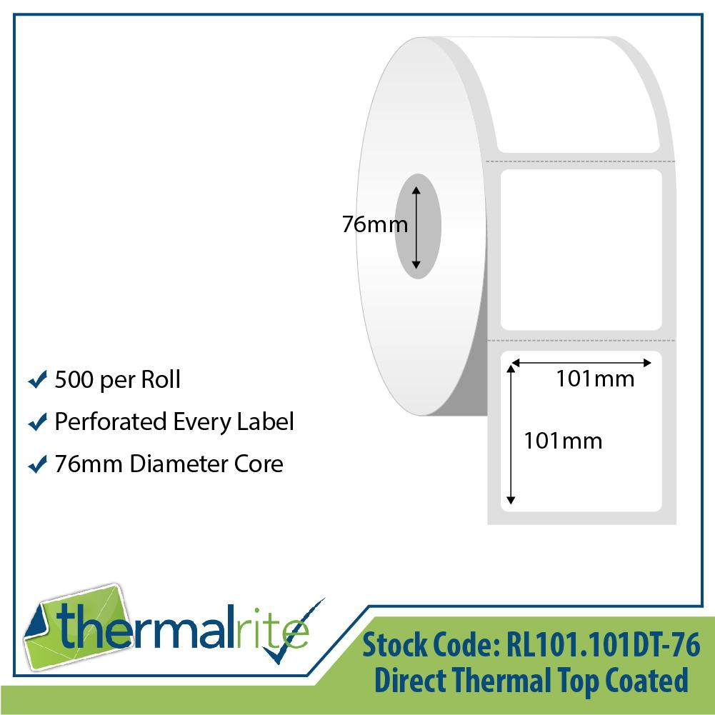 Thermalrite Direct Thermal Labels 101x101mm