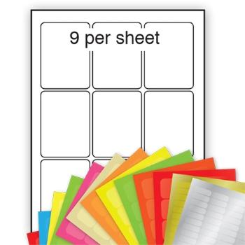 A4 Coloured Labels 63x88mm 9 per sheet