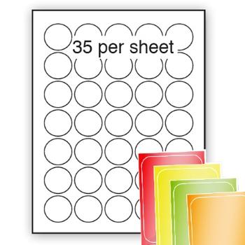 Fluorescent A4 Labels 37mm dia circle 35 per sheet