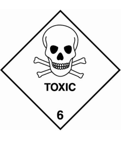 "HZ611 - Hazard Label ""TOXIC"" 100x100mm (250 Labels per Roll)"