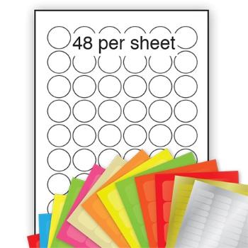 A4 Coloured Labels 30mm dia circle 48 per sheet
