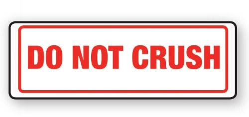 "VL148CR - Parcel Label ""DO NOT CRUSH"" 148x50mm (500 Labels per Roll)"