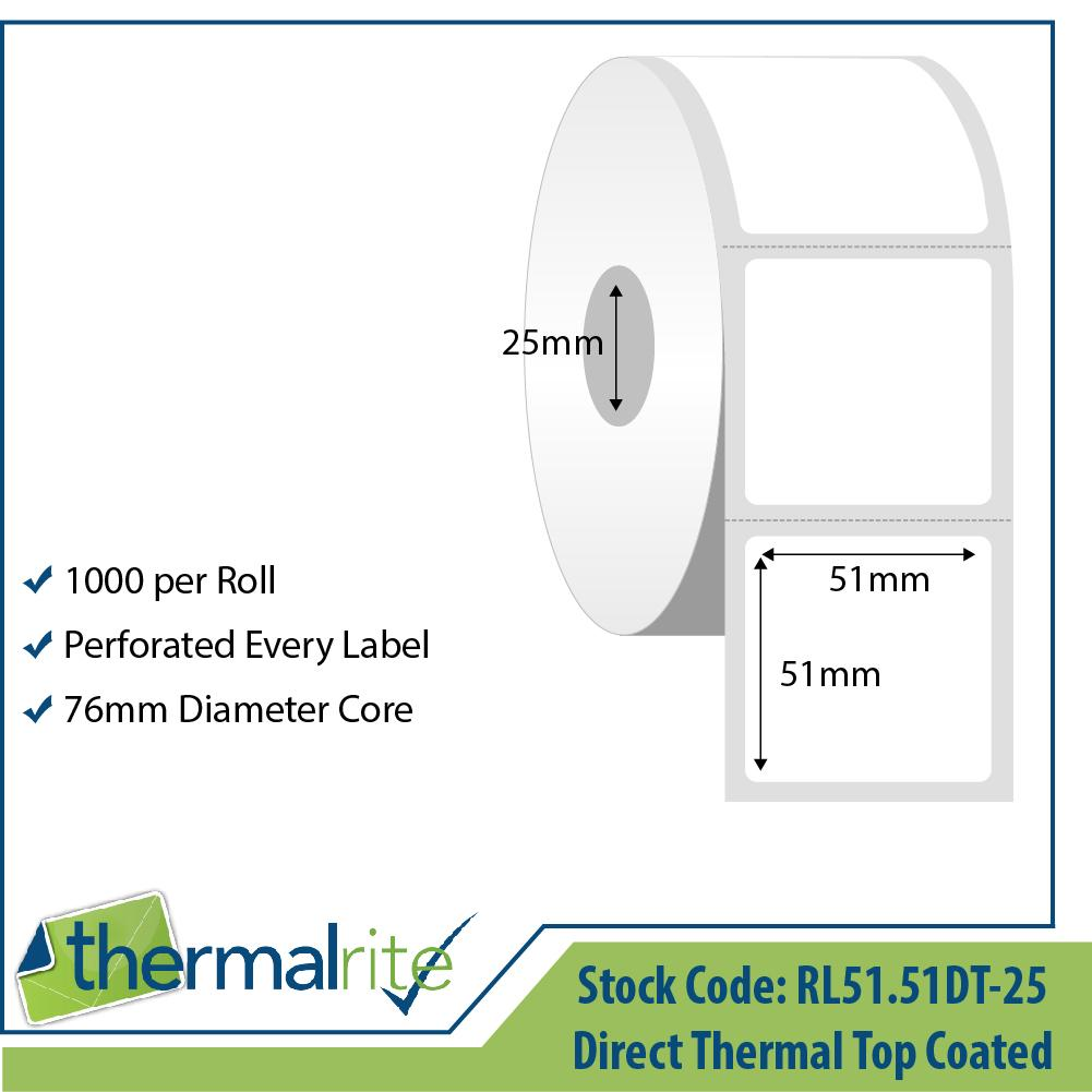 Thermalrite Direct Thermal Labels 51x51mm