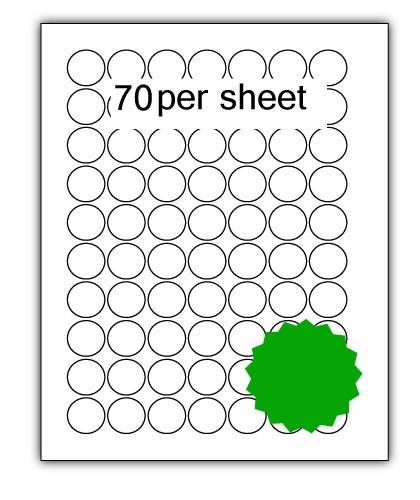 P25G - A4 Label Green 25mm Diameter Circle 70 up (200 Sheets)