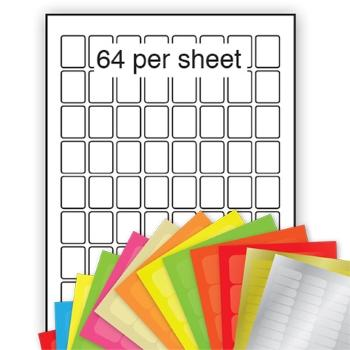 A4 Coloured Labels 22x31mm 64 per sheet