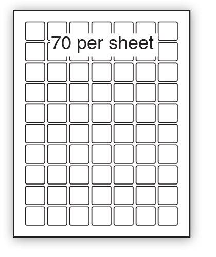 P25.25 - A4 Label White Permanent 25x25mm Square 70 up (200 Sheets)