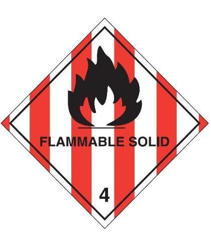 "HZ411 - Hazard Label ""FLAMMABLE SOLID"" 100x100mm (250 Labels per Roll)"