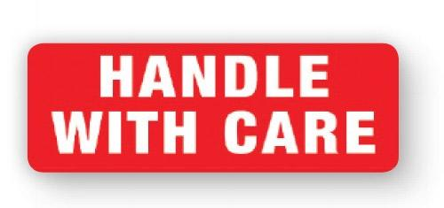 "VL89HA - Parcel Label ""HANDLE WITH CARE"" 89x32mm (1000 Labels per Roll)"
