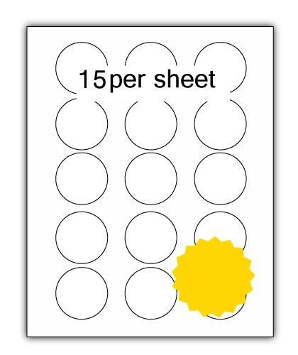 P51Y - A4 Label Yellow 51mm Diameter Circle 15 up (200 Sheets)