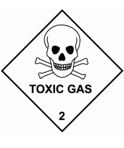 "HZ220 - Hazard Label ""TOXIC GAS"" 100x100mm (250 Labels per Roll)"