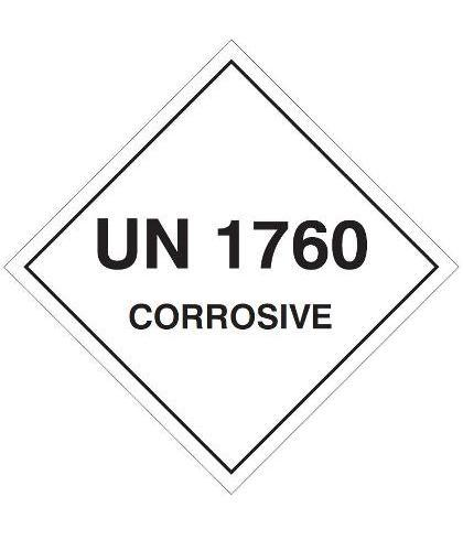 "HZ1014 - Hazard Label""UN1760 CORROSIVE"" 100x100mm (250 Labels per Roll)"