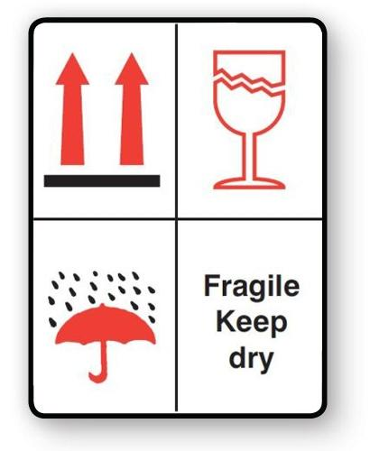 "VL108FD - Parcel Label ""FRAGILE KEEP DRY"" 108x79mm (500 Labels per Roll)"