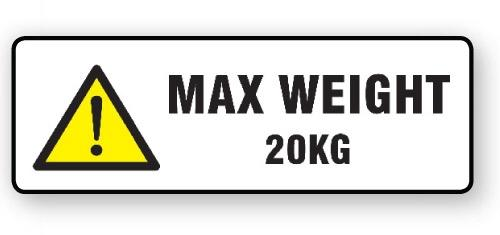 "VL148MW20 - Parcel Label ""MAX WEIGHT 20KG"" 148x50mm (500 Labels per Roll)"