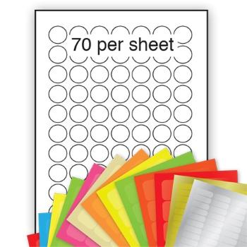 A4 Coloured Labels 25mm dia circle 70 per sheet