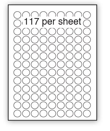 P19REM - A4 Label White Removable 19mm Diameter Circle 117 up (200 Sheets)