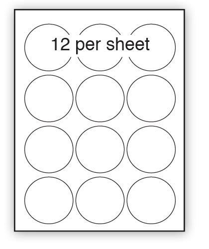 GC64 - A4 Label Gloss Clear Polyester 64mm Diameter Circle 12 up (100 Sheets)
