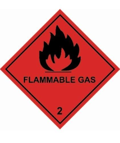 "HZ230 - Hazard Label ""FLAMMABLE GAS"" 100x100mm (250 Labels per Roll)"