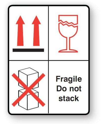 "VL108FS - Parcel Label ""FRAGILE DO NOT STACK"" 108x79mm (500 Labels per Roll)"