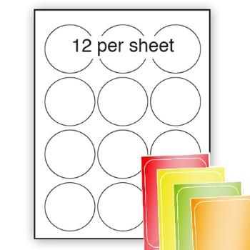 Fluorescent A4 Labels 63.5mm dia circle 12 per sheet