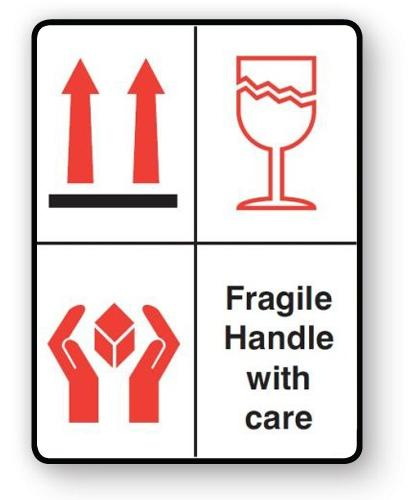 "VL108FH - Parcel Label ""FRAGILE HANDLE WITH CARE"" 108x79mm (500 Labels per Roll)"