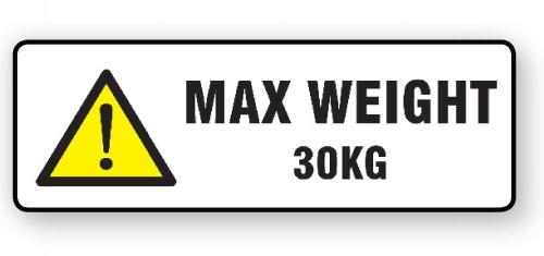 "VL148MW30 - Parcel Label ""MAX WEIGHT 30KG"" 148x50mm (500 Labels per Roll)"