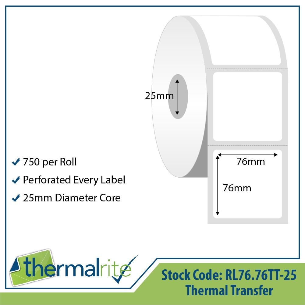 Thermalrite Thermal Transfer Labels 76x76mm