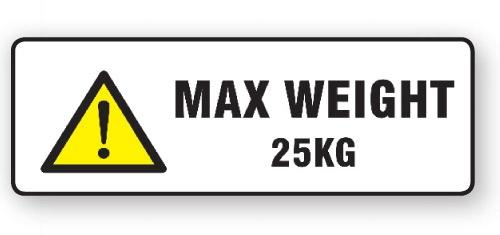 "VL148MW25 - Parcel Label ""MAX WEIGHT 25KG"" 148x50mm (500 Labels per Roll)"