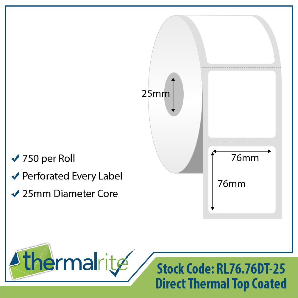 Thermalrite Direct Thermal Labels 76x76mm