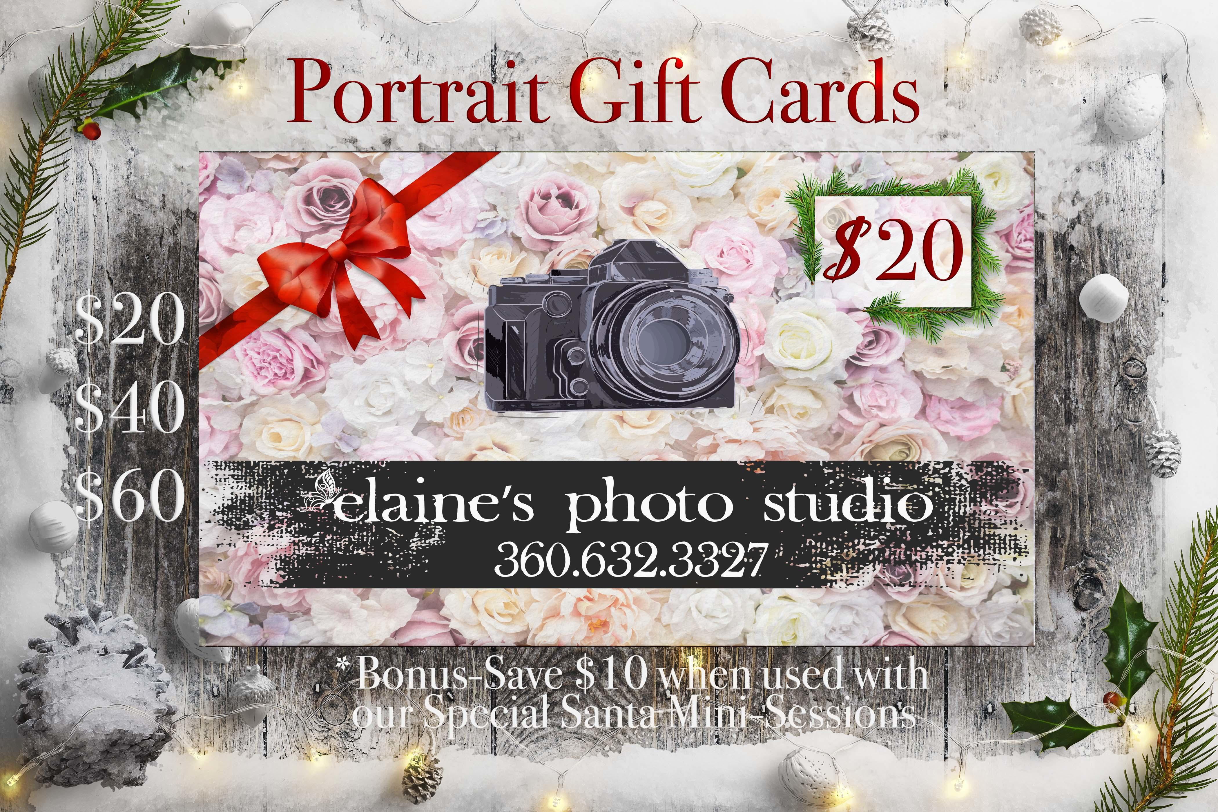 gift card, studio portraits, local oak harbor, oak harbor photographer