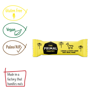 The Primal Pantry Lemon and poppy seed real food bar