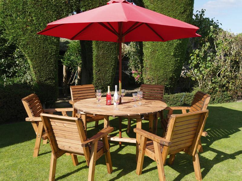 Dales 1.5m Round Six Seater Garden Table Set