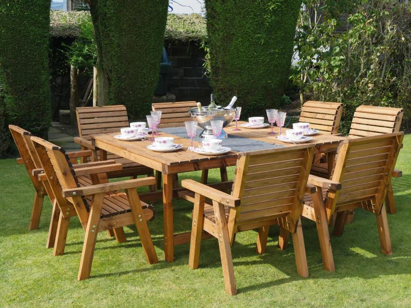 Dales 1.6m Square 8 Seater Garden Table Set