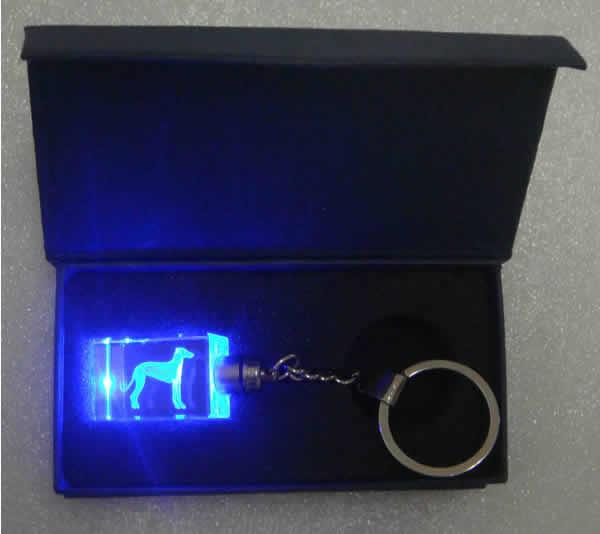 3--D Crystal Greyhound Light Up Keyring
