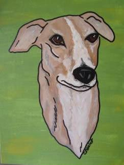 Original Art Painting of Greyhound Head