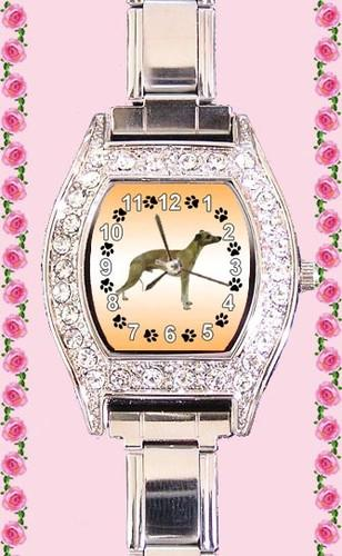 Whippet Dog Cubic Zirconia Lady Stainless Steel It