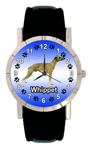 Whippet Dog Mens Ladies Genuine Leather Band
