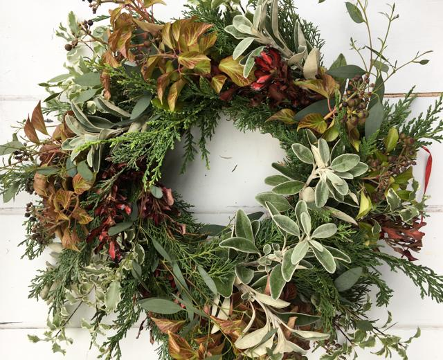 Winter wreaths from all natural Surrey grown materials