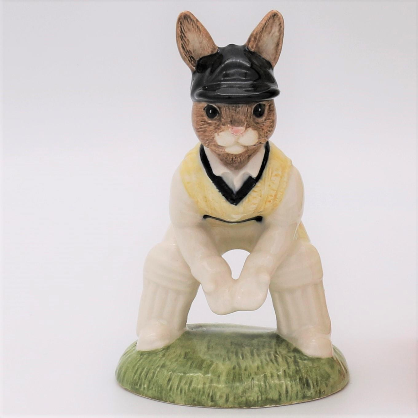 Royal Doulton Bunnykins cricket figure - DB150 Wicket Keeper front