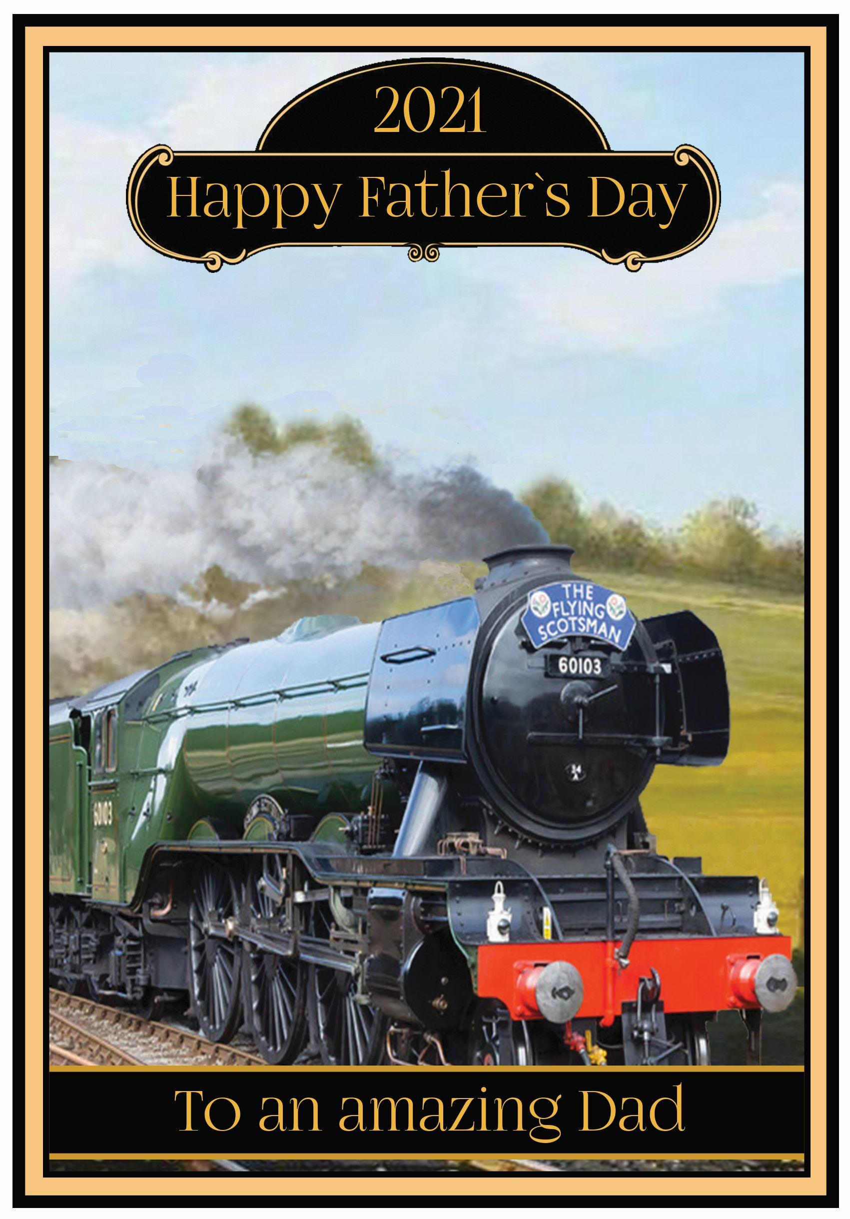 Flying Scotsman Steam Train Fathers Day Card