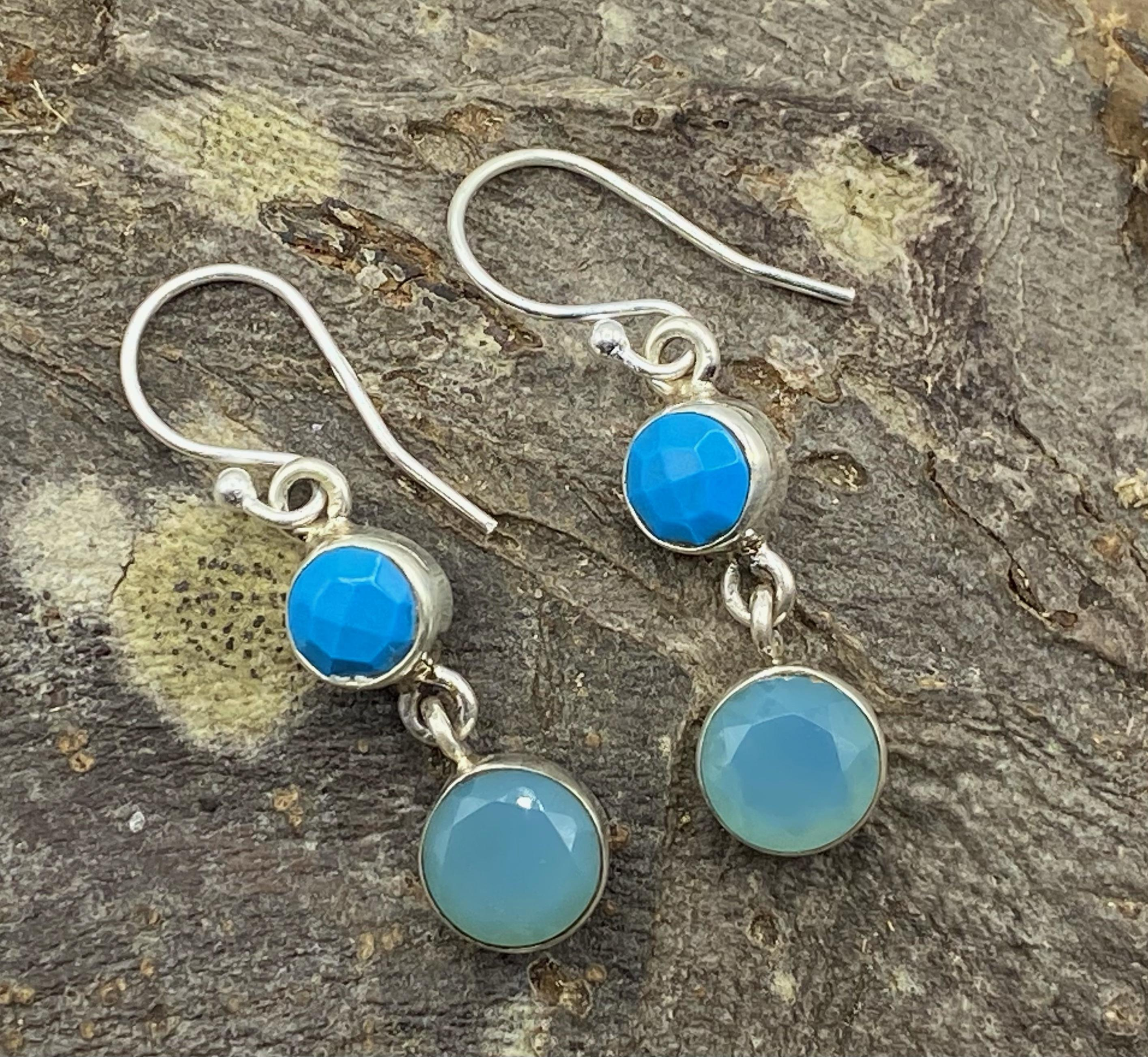 Silver Drop Earrings with Faceted Blue Howlite and Onyx Cabochons