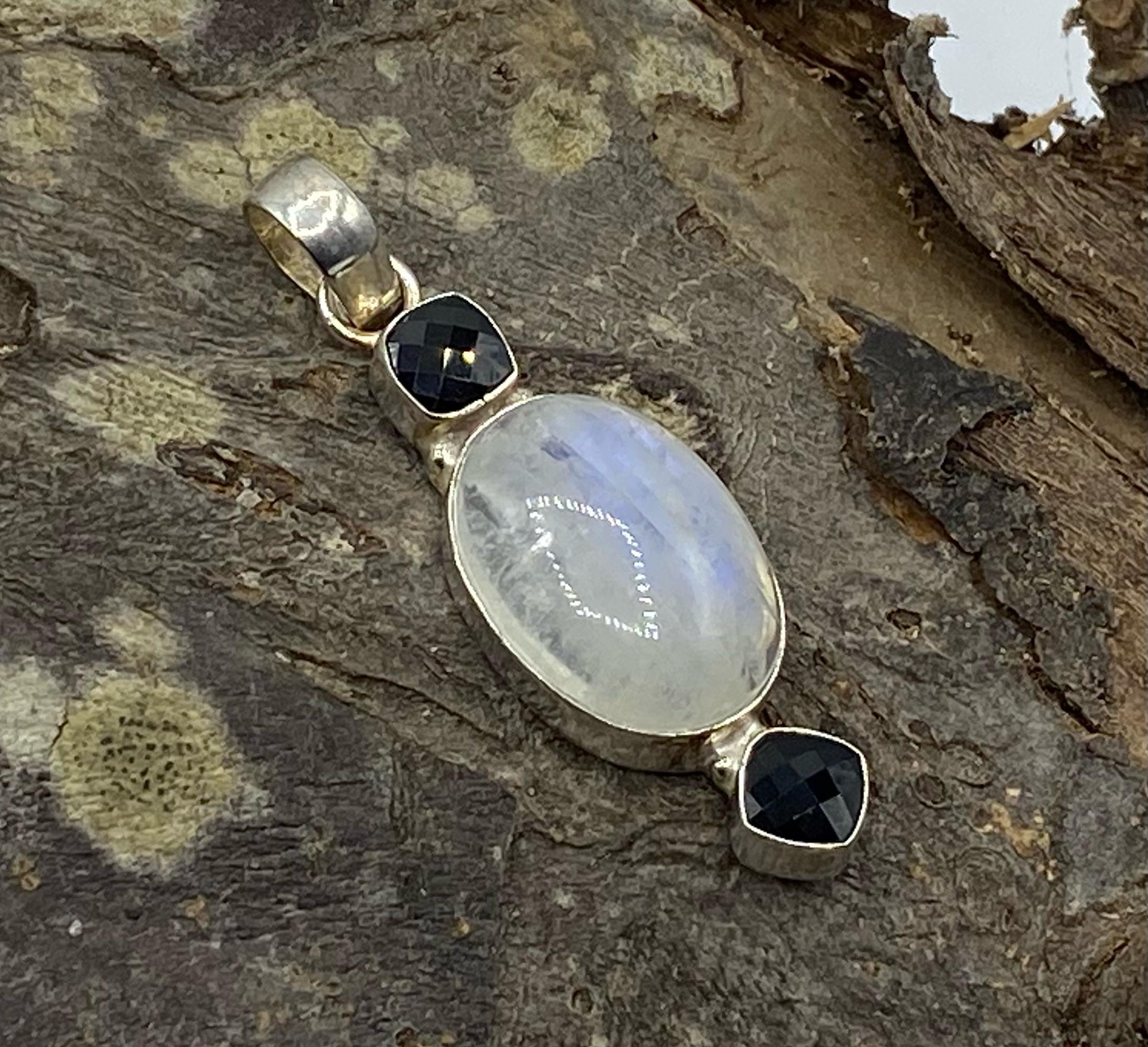 Silver Moonstone Oval with Double Faceted Dark Smokey Quartz Pendant