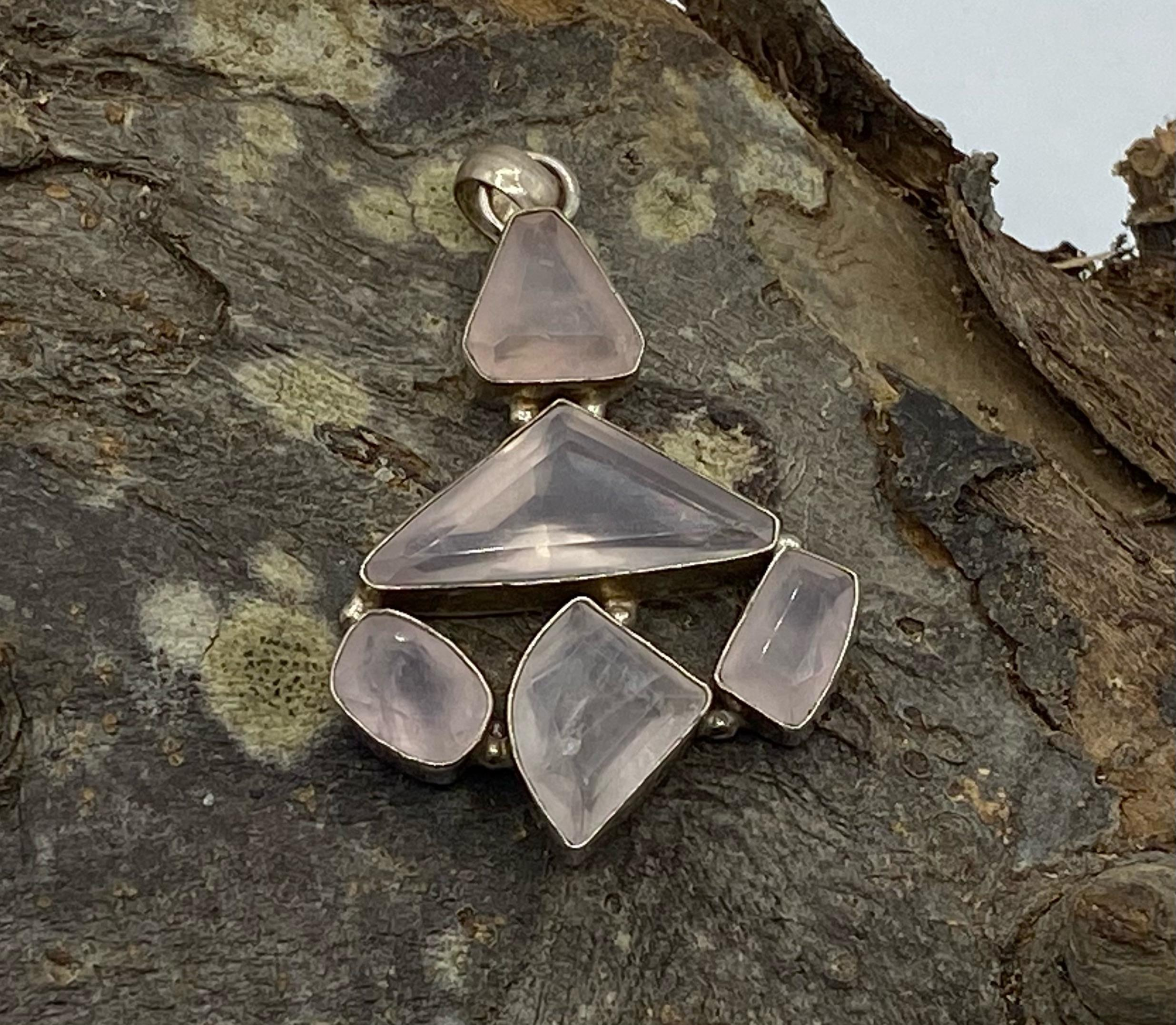 Silver Faceted Rose Quartz Multi Stone Pendant