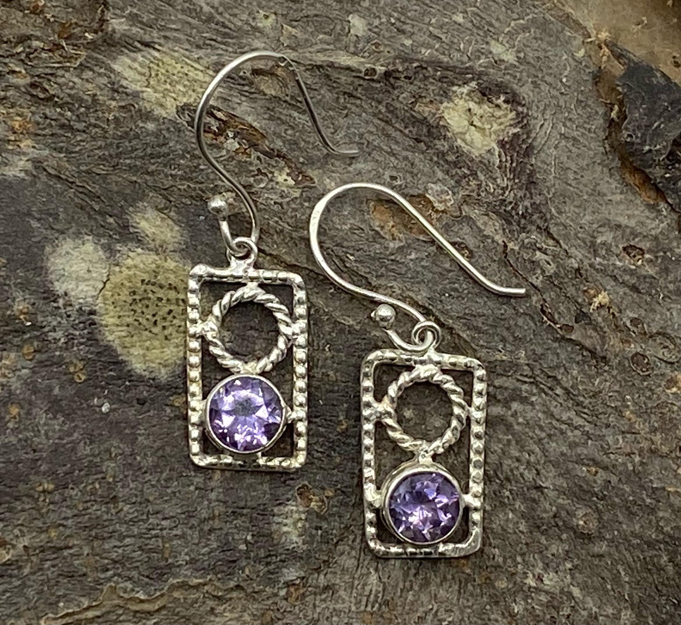 Silver Rectangular Earrings with Faceted Amethyst Cabochon
