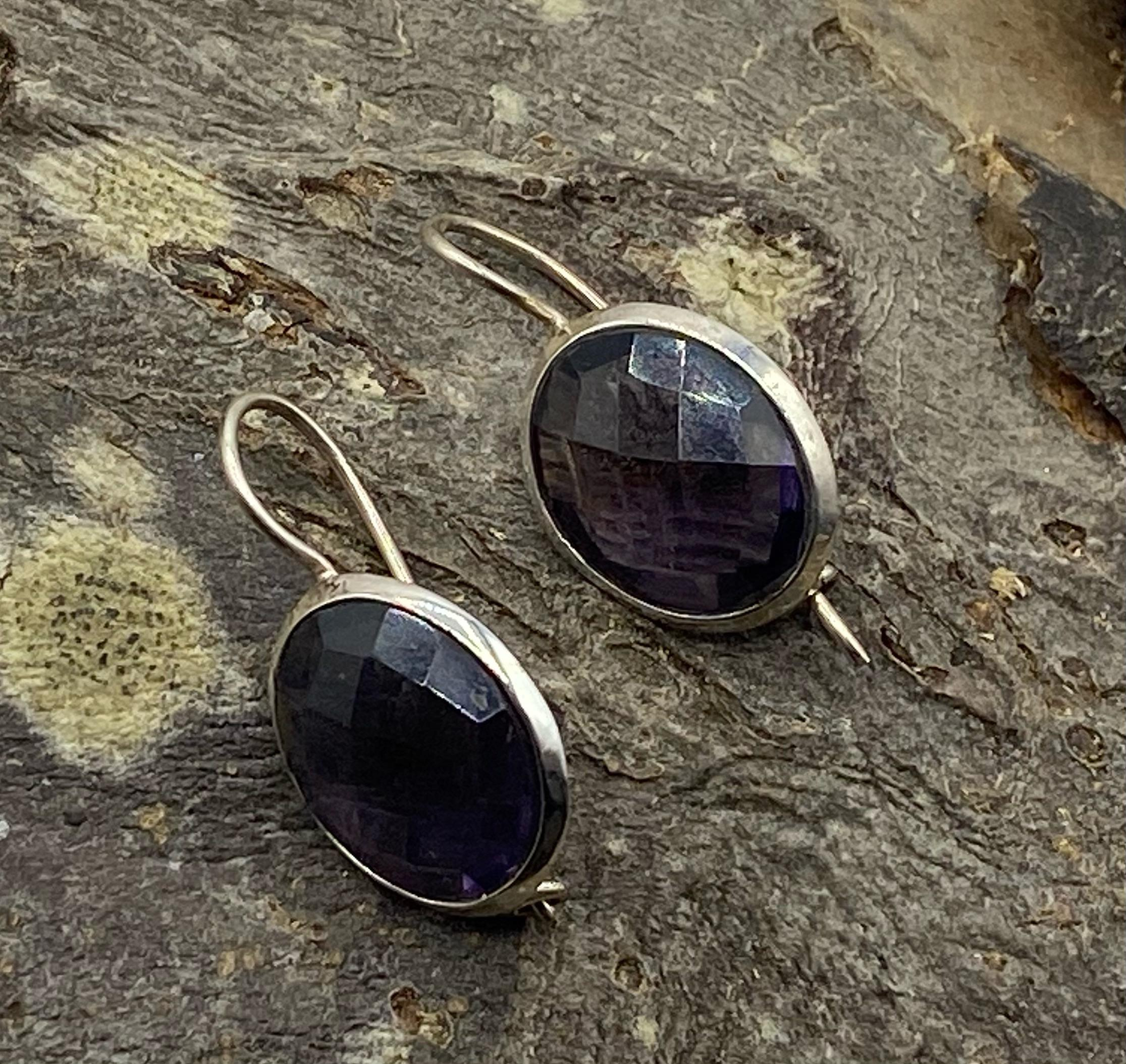Silver Oval Earrings with Faceted Amethyst Cabochons