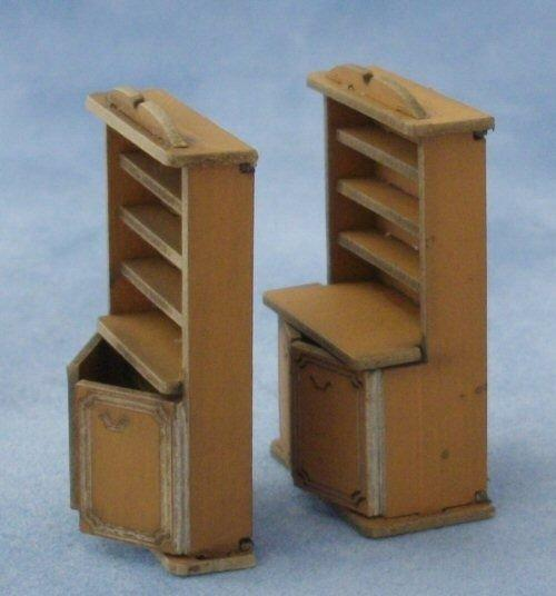 1/48th scale Bookshelf Cupboard and Welsh dresser Kits