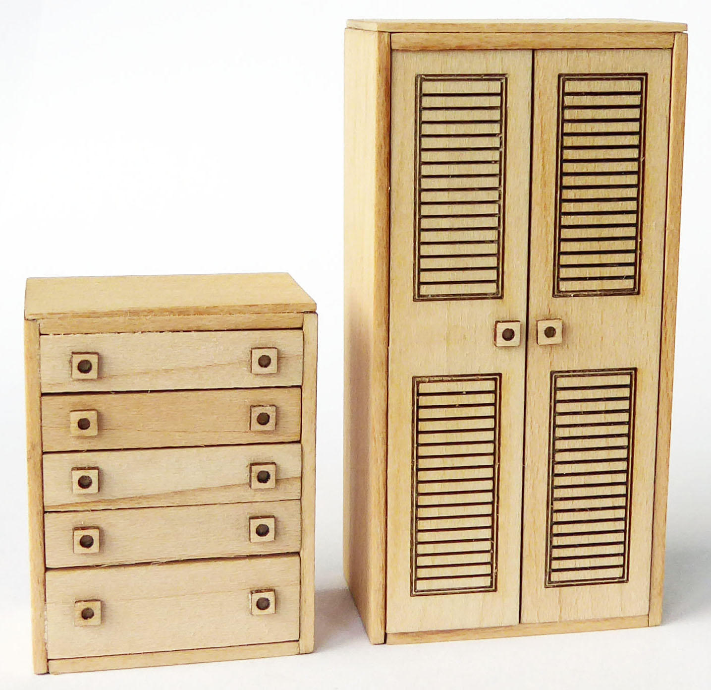 1/48th scale 70s Retro Wardrobe and Drawers Kit